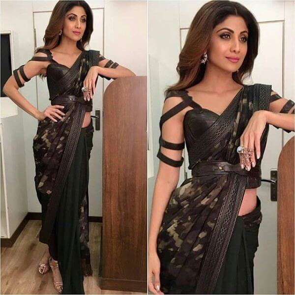Churidaar on a Saree - Latest Indian Fashion Trends 2019