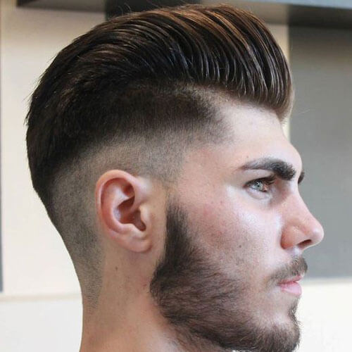 High Fade with Pompadour and Beard - Mens Hairstyles 2020